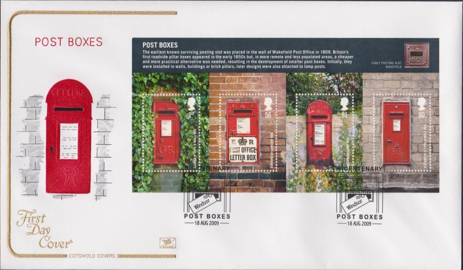 2009 - Post Boxes - Cotswold First Day Cover - Windsor Postmark