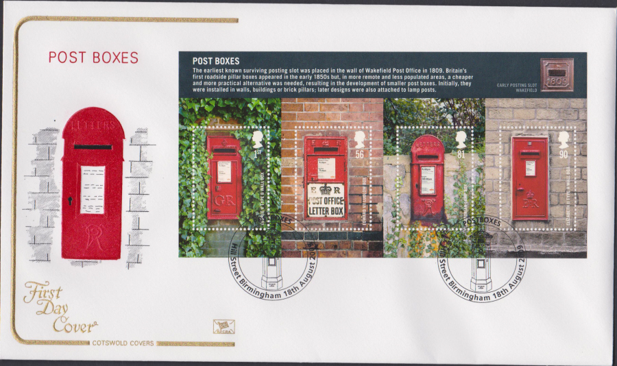 2009 - Post Boxes - Cotswold First Day Cover - Hill Street,Birmingham Postmark