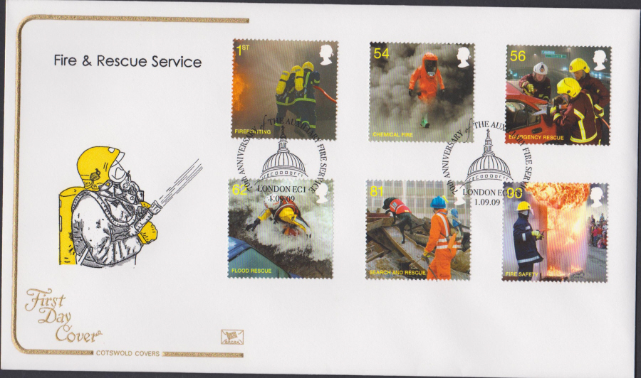 2009 - Fire & Rescue Service - Cotswold First Day Cover - 70th Anniv. London EC1 Postmark