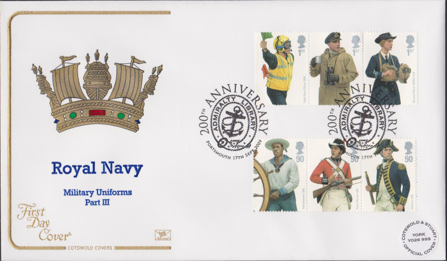 2009 - Royal Navy Uniforms - Cotswold First Day Cover - 200th Anniv Portsmouthl Postmark