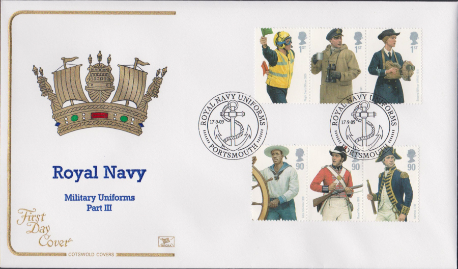 2009 - Royal Navy Uniforms - Cotswold First Day Cover - Portsmouth Postmark