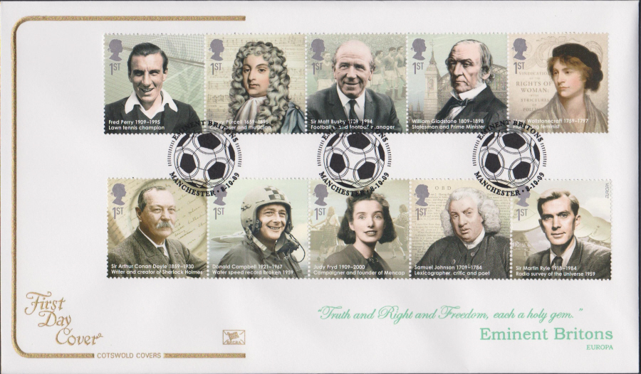 2009 -Eminent Britons - Cotswold First Day Cover - Football Manchester Postmark