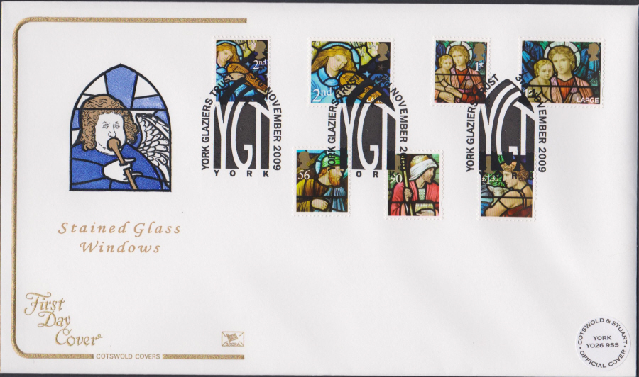 2009 - Christmas First Day Cover Set COTSWOLD - York Glaziers Postmark