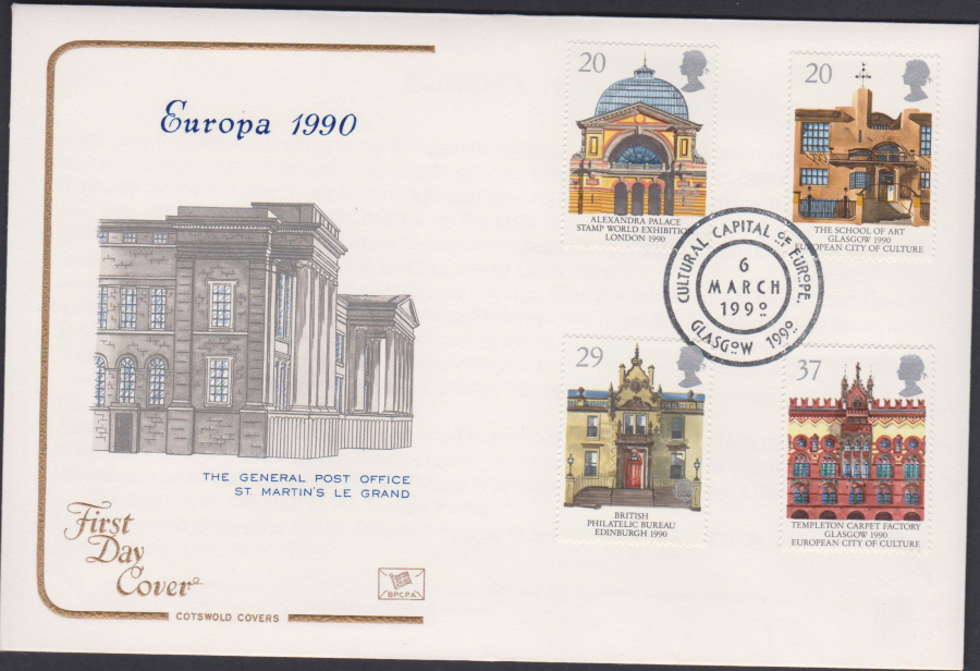 1990 - Cotswold FDC Europa . :- Culture Capital, Glasgow Postmark
