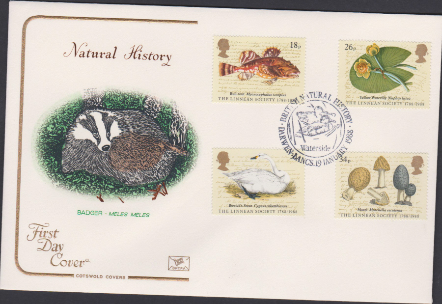 1988- Linnean Society First Day Cover COTSWOLD Darwen,Lancs Postmark