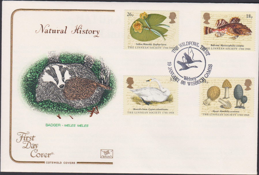 1988- Linnean Society First Day Cover COTSWOLD Wildfowl Trust Wisbeech Postmark