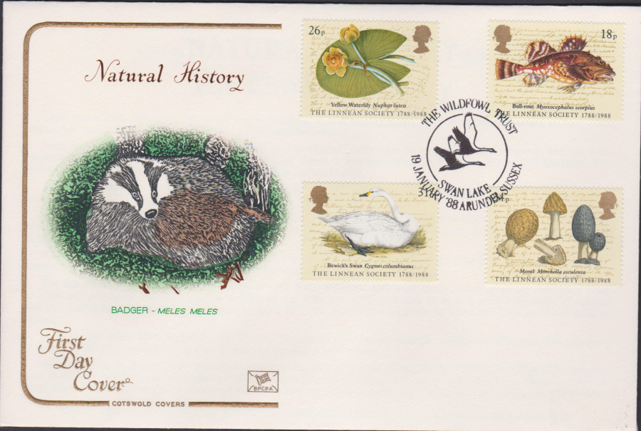 1988- Linnean Society First Day Cover COTSWOLD Wildfowl Trust Swan Lake,Arundel,Sussex Postmark