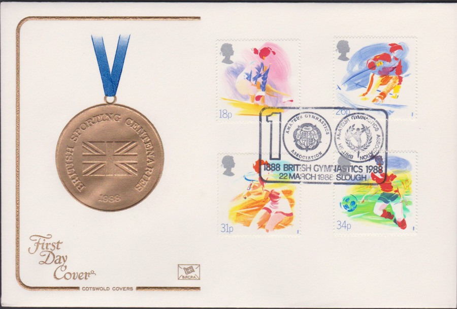 1988- Sport First Day Cover COTSWOLD British Gymnastics Slough Postmark