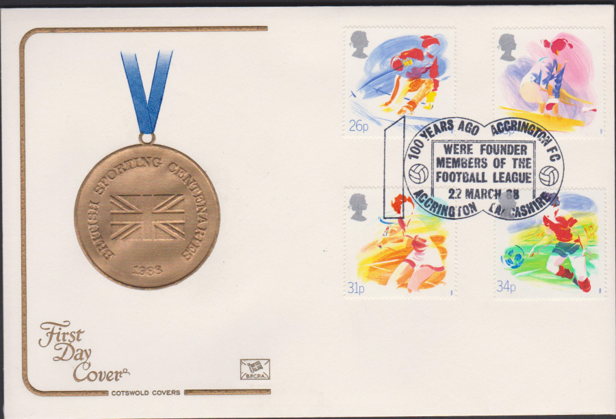 1988- Sport First Day Cover COTSWOLD Accrington F.C. Lancashire Postmark