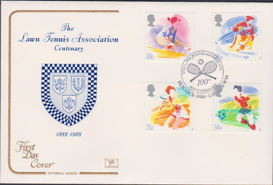1988- Sport First Day Cover COTSWOLD OFFICIAL Lawn Tennis Association London W14 Postmark