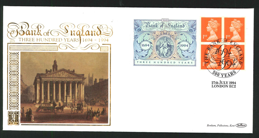 1994 - Bank of England Commemorative Label First Day Cover - 300 Years Bank of England Postmark