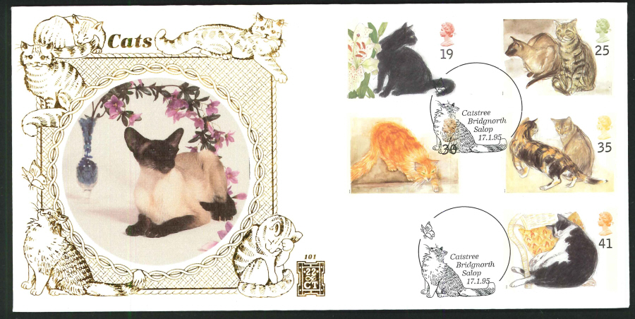 1995 - Cats First Day Cover - Catstree, Bridgnorth Postmark