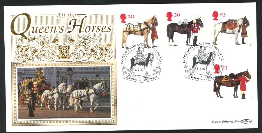 1997 - All the Queen's Horses First Day Cover - Horse Guards Avenue SW1 Postmark