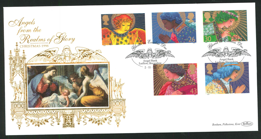 1998 - Christmas First Day Cover - Gloria in Exceleis, Angel Bank Postmark