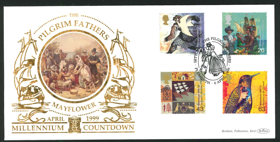 1999 - Settlers' Tale First Day Cover - Pilgrim Fathers (Oval) Postmark