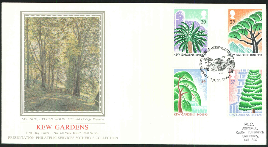 1990 - Kew Gardens 1840-1990 First Day Cover (PPS Silk), Kew, Richmond Postmark