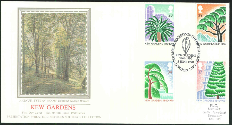 1990 - Kew Gardens 1840-1990 First Day Cover (PPS Silk), Kew 1840-1990 Postmark