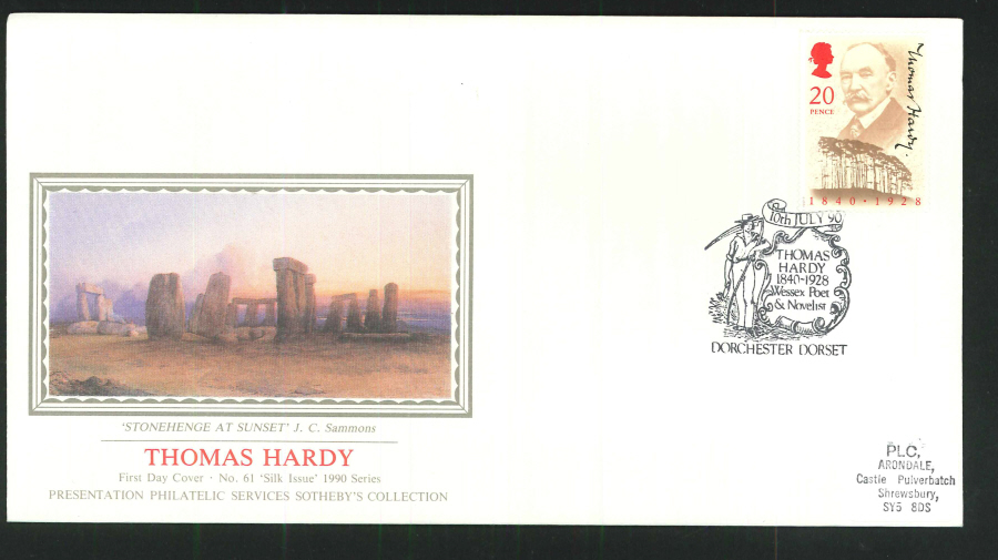 1990 - Thomas Hardy First Day Cover (PPS Silk) - Dorchester Dorset Postmark