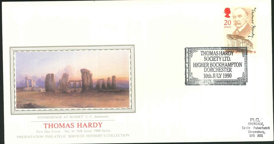 1990 - Thomas Hardy First Day Cover (PPS Silk) - Thomas Hardy Society Ltd. Higher Bockhampton Postmark