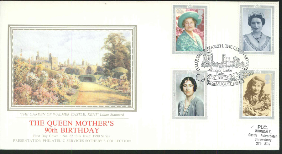 1990 - The Queen Mother's 90th Birthday First Day Cover (PPS Silk) - Windsor Castle (oval) Postmark