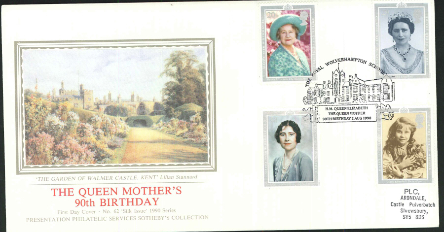 1990 - The Queen Mother's 90th Birthday First Day Cover (PPS Silk) - The Royal Wolverhampton School Postmark