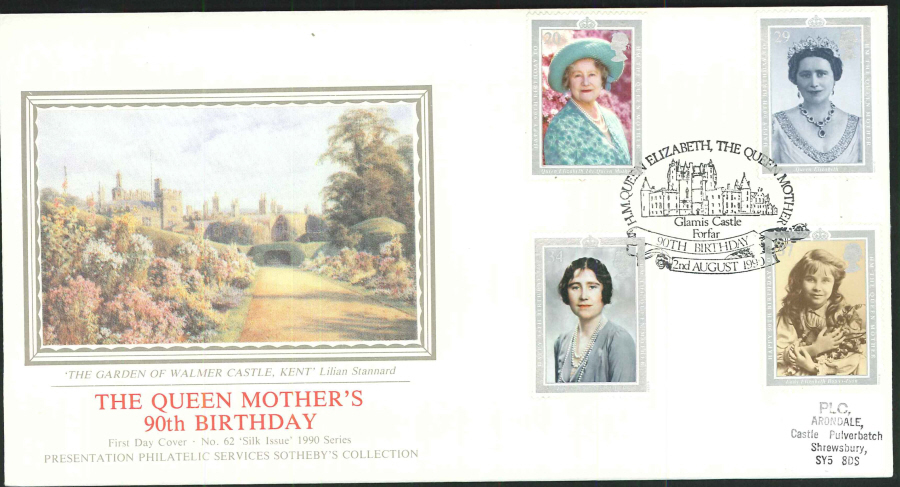 1990 - The Queen Mother's 90th Birthday First Day Cover (PPS Silk) - Glamis Castle, Forfar (Oval) Postmark