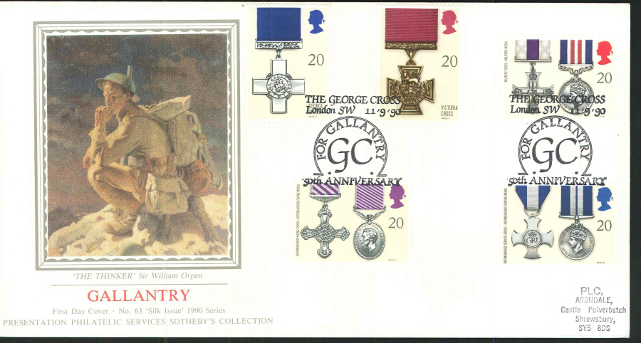 1990 - Gallantry First Day Cover (PPS Silk) - The George Cross, London SW Postmark