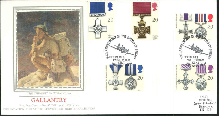 1990 - Gallantry First Day Cover (PPS Silk) - 50th Anniversary of the Battle of Britain, Biggin Hill, Kent Postmark