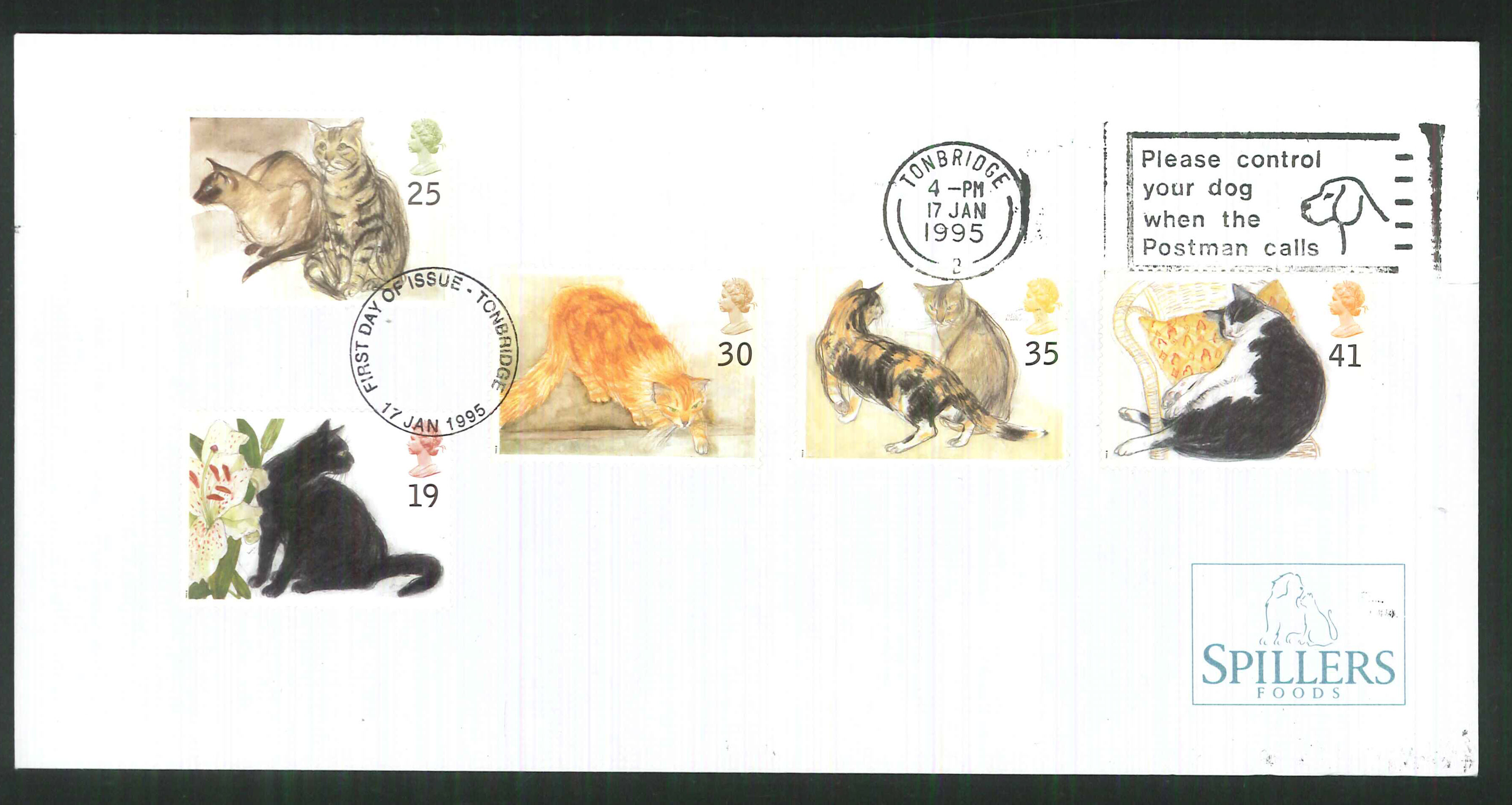 1995 - Cats First Day Cover - Control your Dog Slogan Postmark