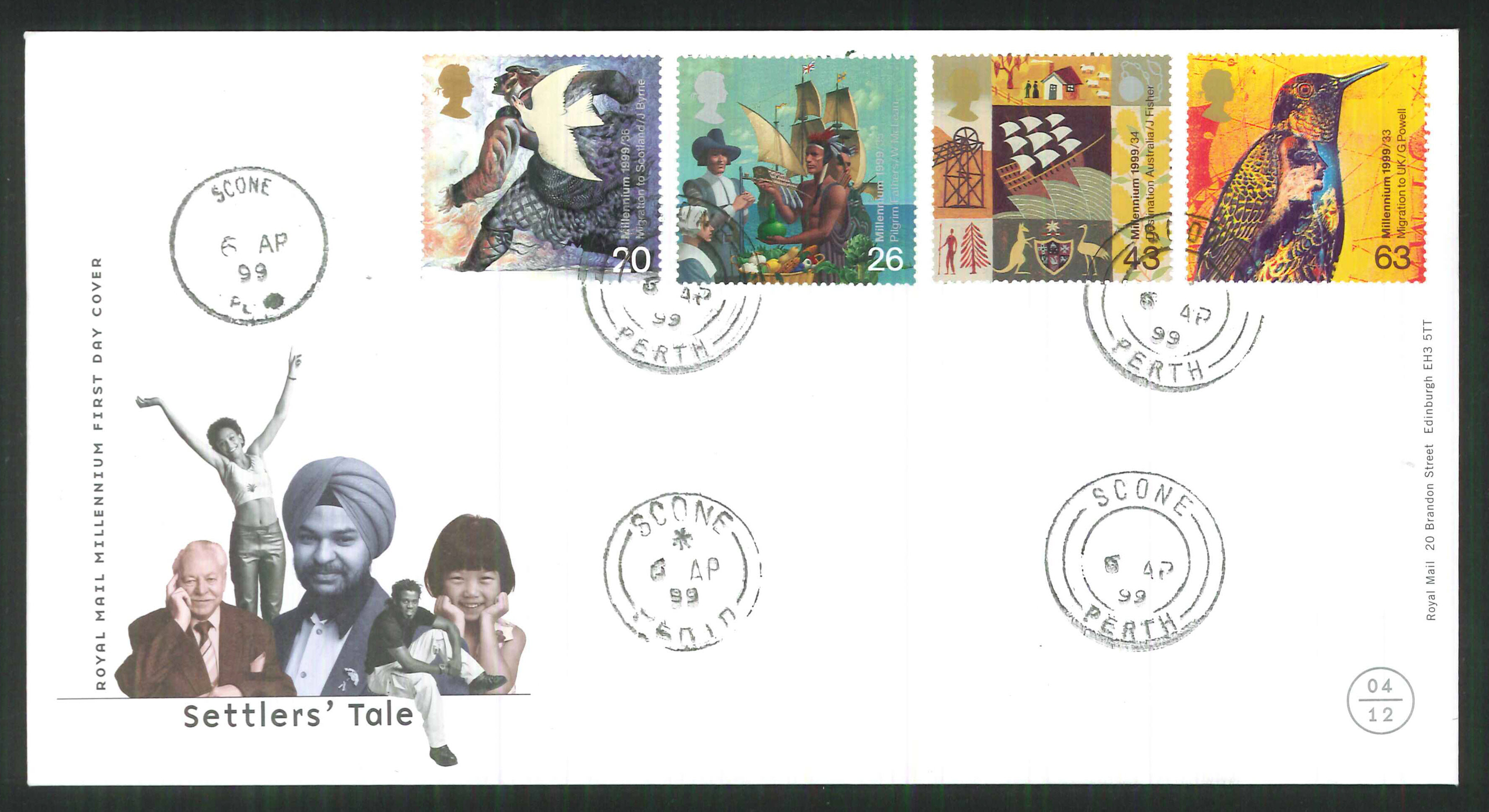 1999 - Settlers' Tale First Day Cover - Scone Perth C D S Postmark
