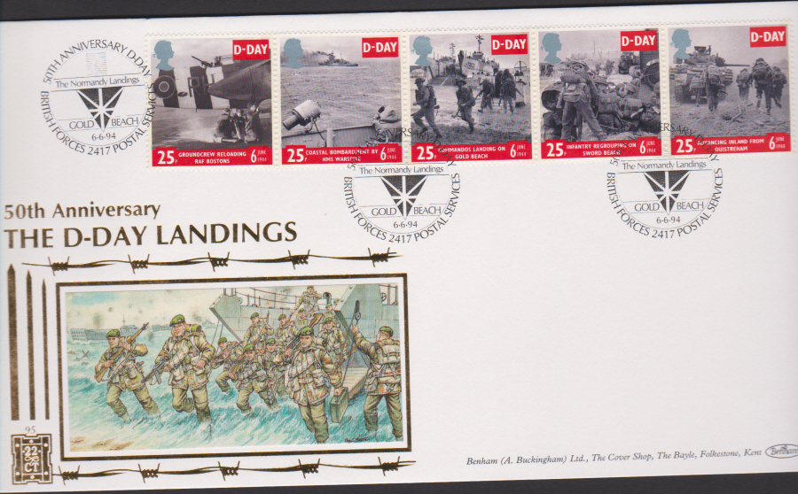 1994 - Benham D Day First Day Cover - D-Day Forces 2417 Dual P0ostmark Postmark