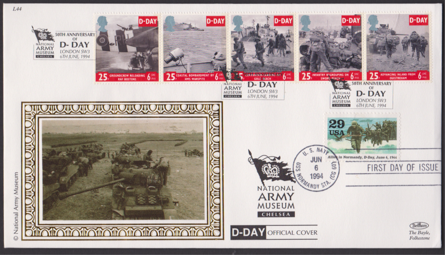1994 - Benham D Day First Day Cover - D-Day Anniv London Dual P0ostmark Postmark