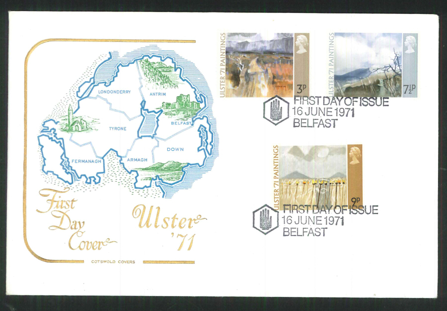 1971 Cotswold FDC Ulster Paintings F D I Belfast Postmark