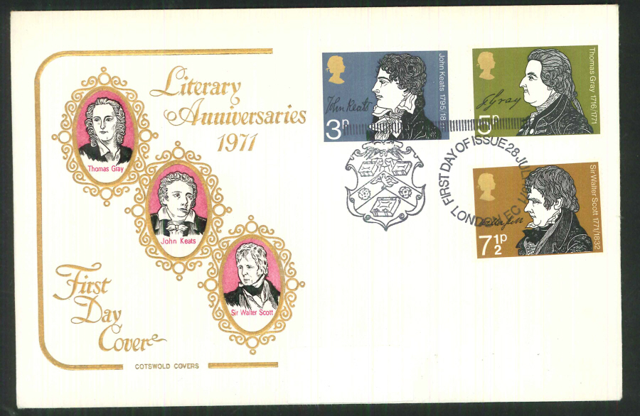 1971 Cotswold FDC Literary Anniversaries F D I London E C Postmark