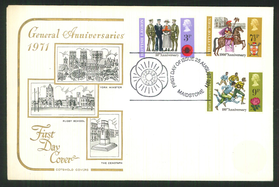 1971 Cotswold FDC Anniversaries F D I Maidstone Postmark