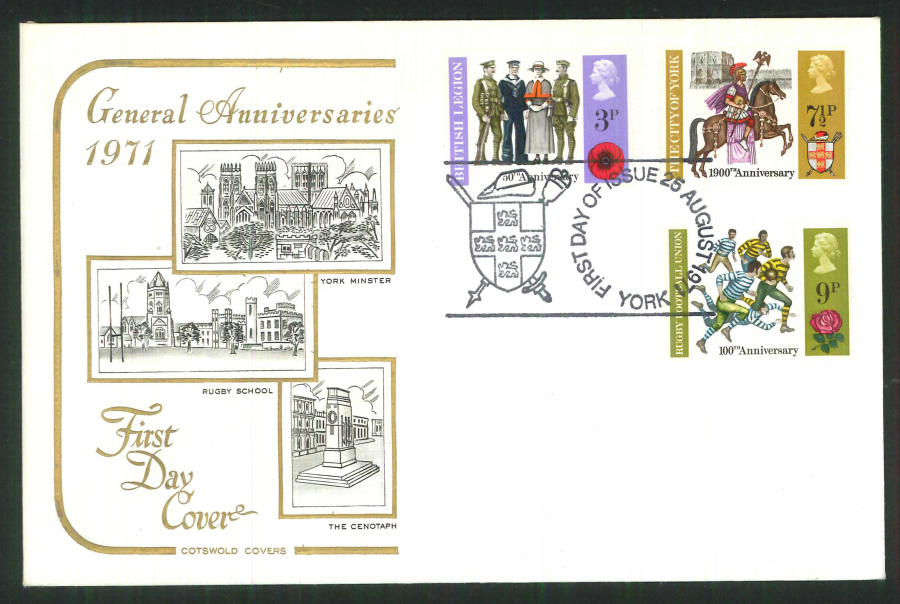 1971 Cotswold FDC Anniversaries F D I York Postmark