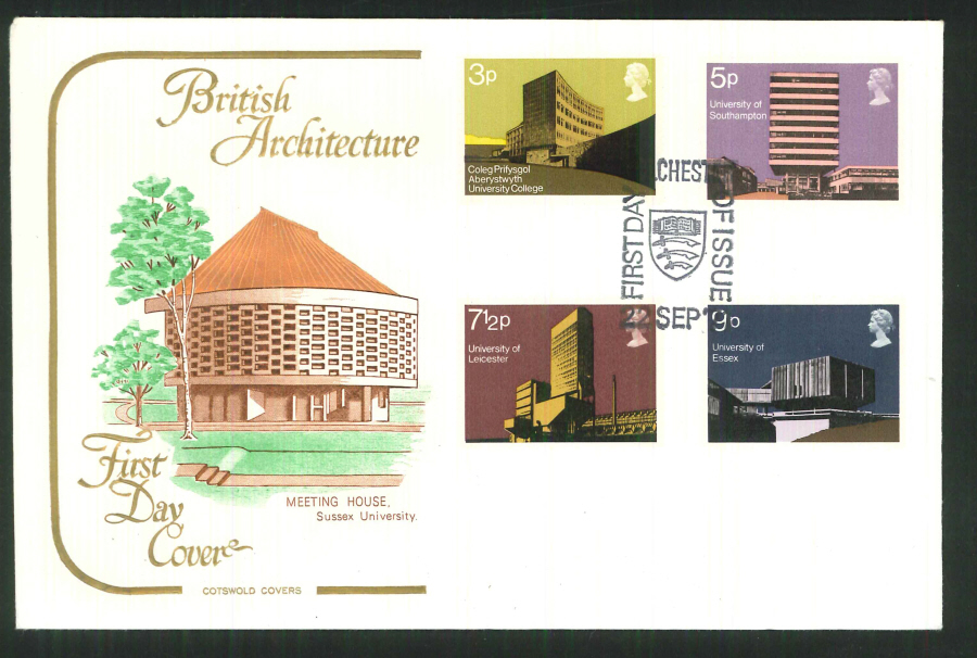 1971 Cotswold FDC Universities F D I Colchester Postmark