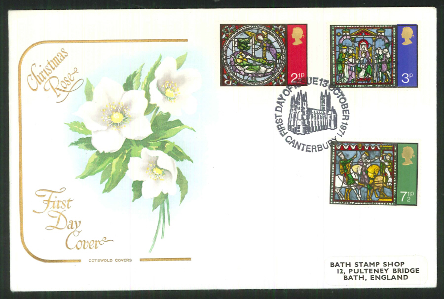 1971 Cotswold FDC Christmas F D I Canterbury Postmark