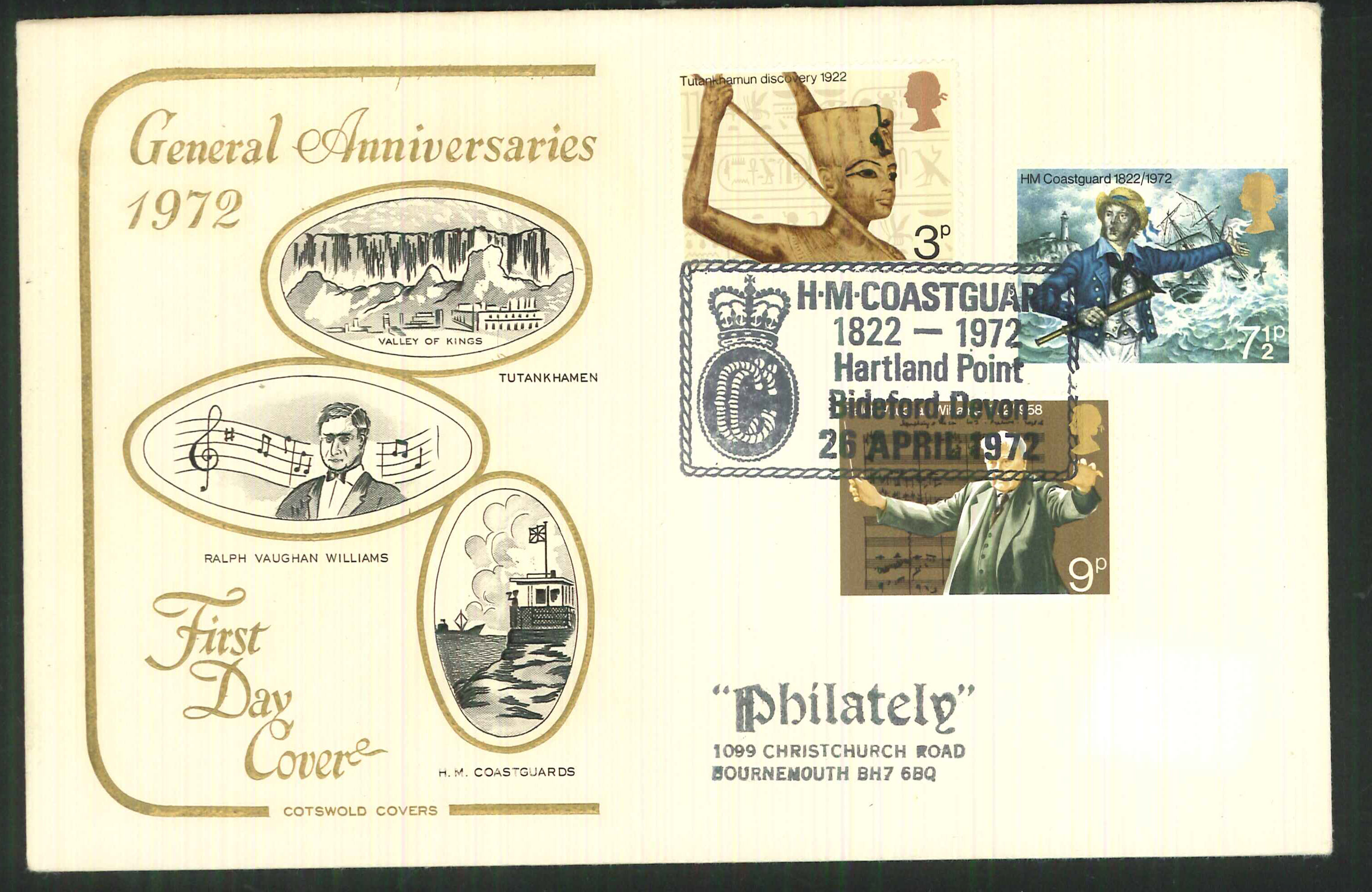1972 Cotswold Anniversaries FDC Hartland Point Postmark
