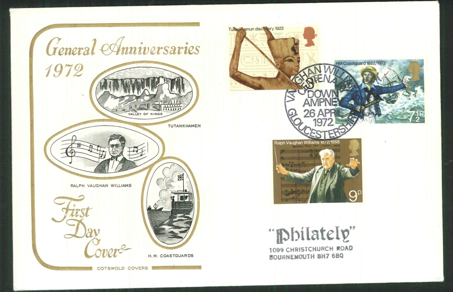 1972 Cotswold Anniversaries FDC Vaughan Williams Postmark