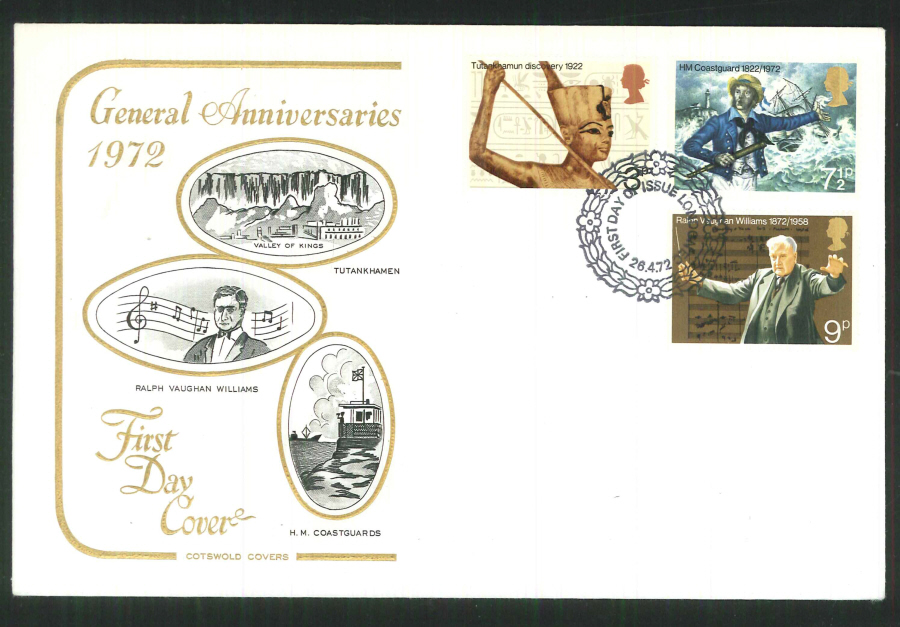 1972 Cotswold Anniversaries FDCF D I London E C Postmark