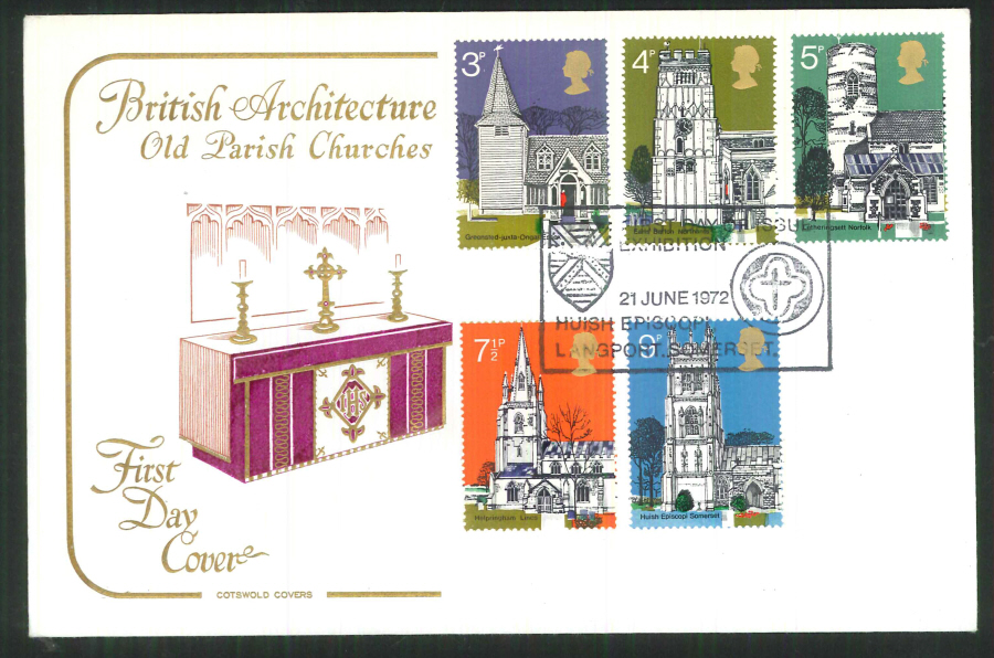 1972 Cotswold Village Churches FDC F D I Huish Exhibition Postmark