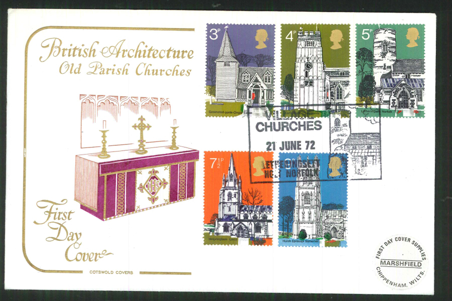 1972 Cotswold Village Churches FDC Letheringsett Postmark