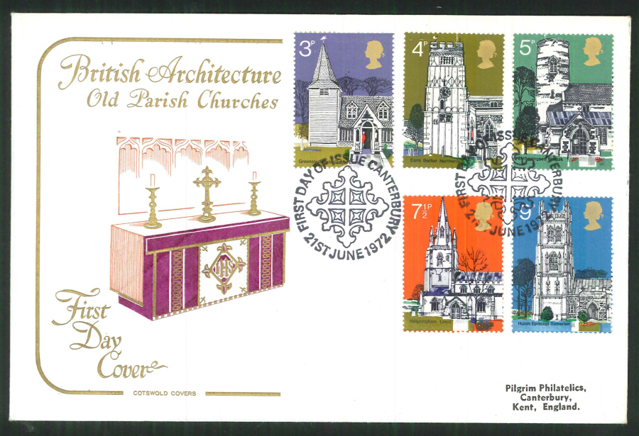 1972 Cotswold Village Churches FDC F D I Canterbury Postmark