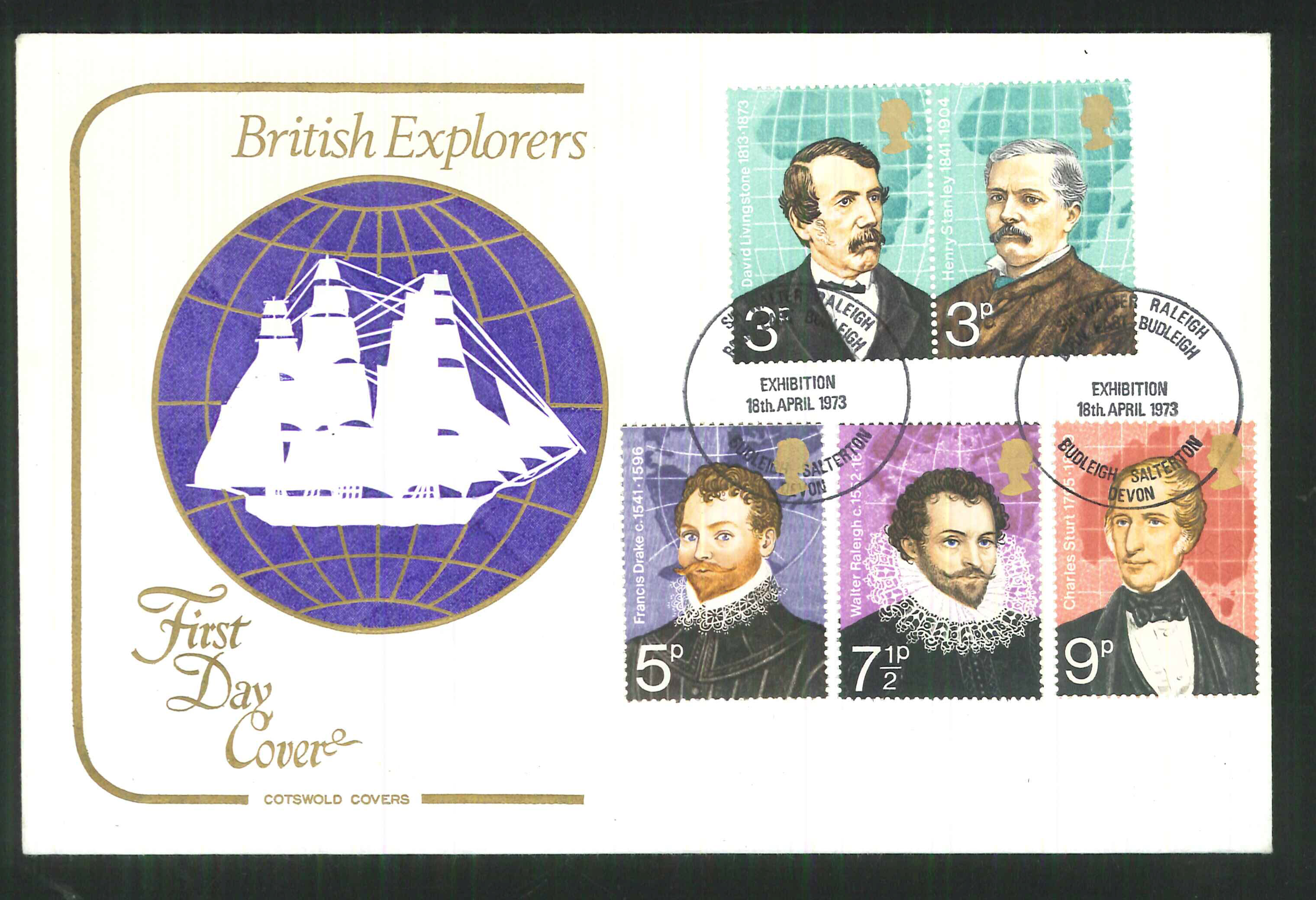 1973 Cotswold British Explorers FDC Cardiff Postmark