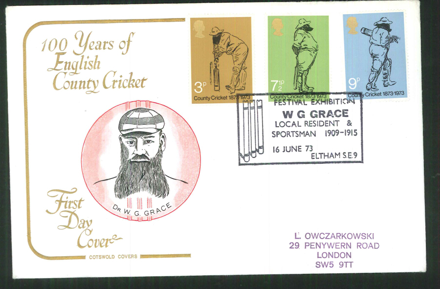 1973 Cotswold Cricket Festival Exhibition Eltham Handstamp