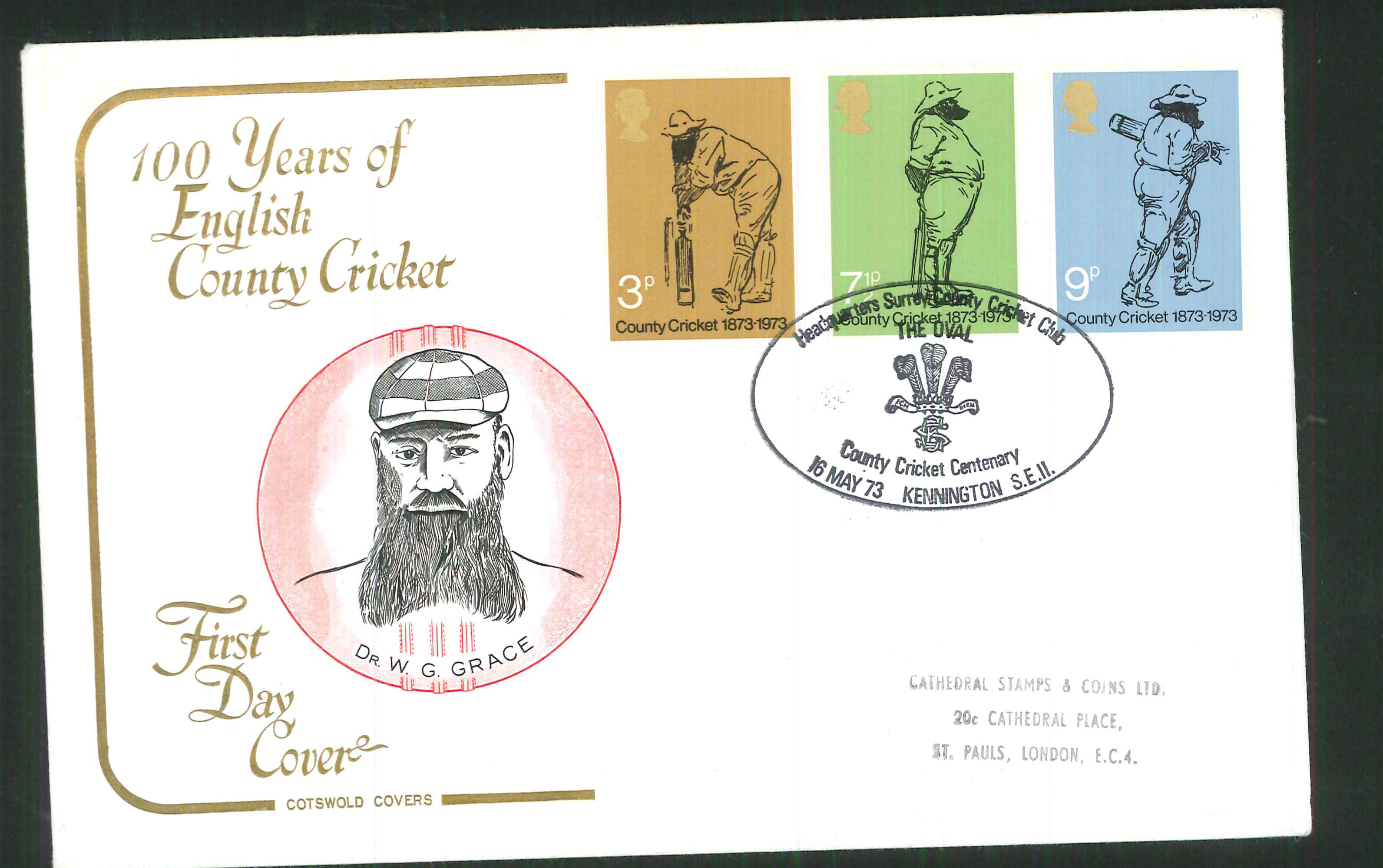 1973 Cotswold Cricket FDC The Oval Kennington Handstamp