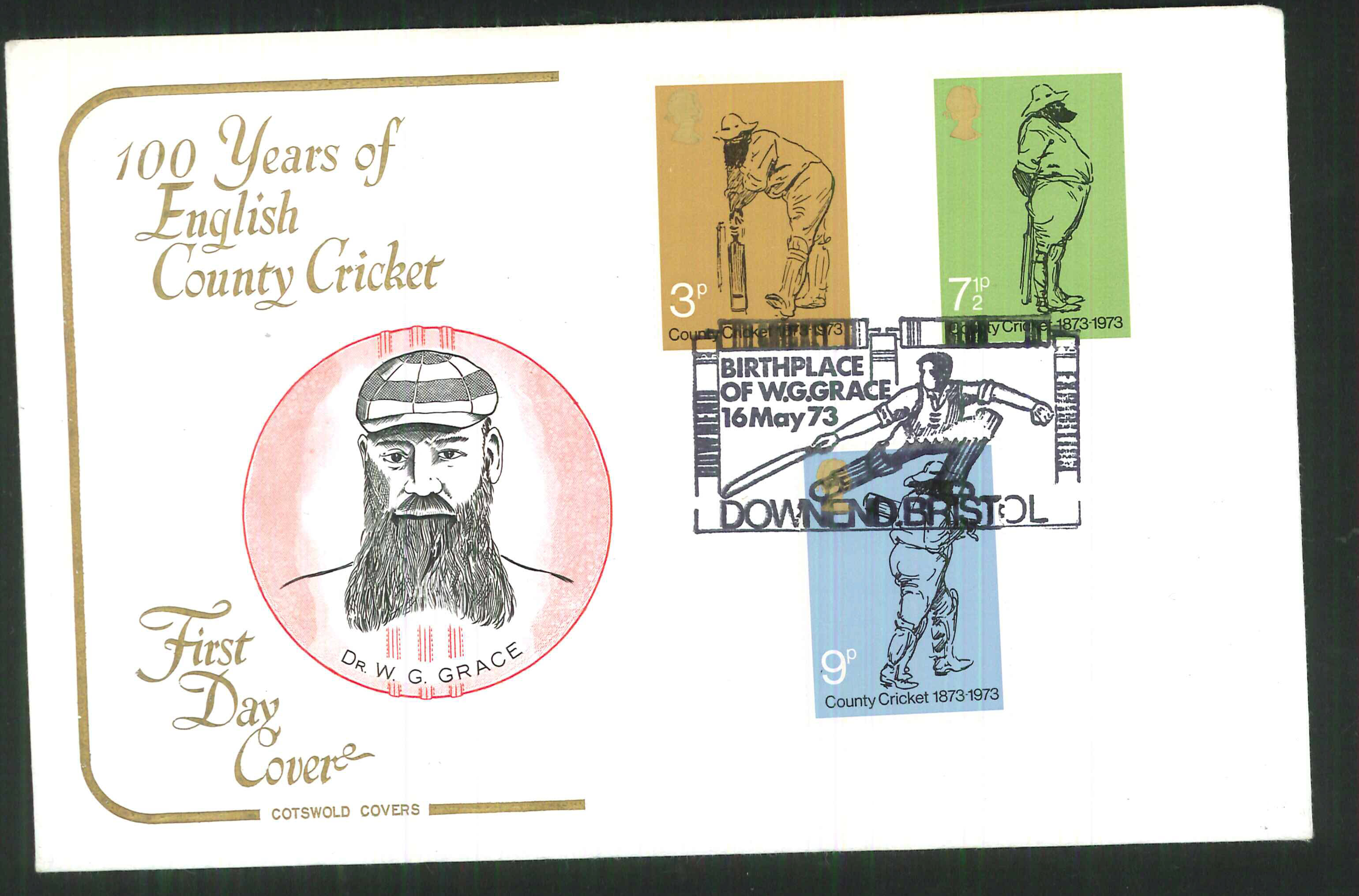 1973 Cotswold Cricket FDC Downend Bristol Handstamp