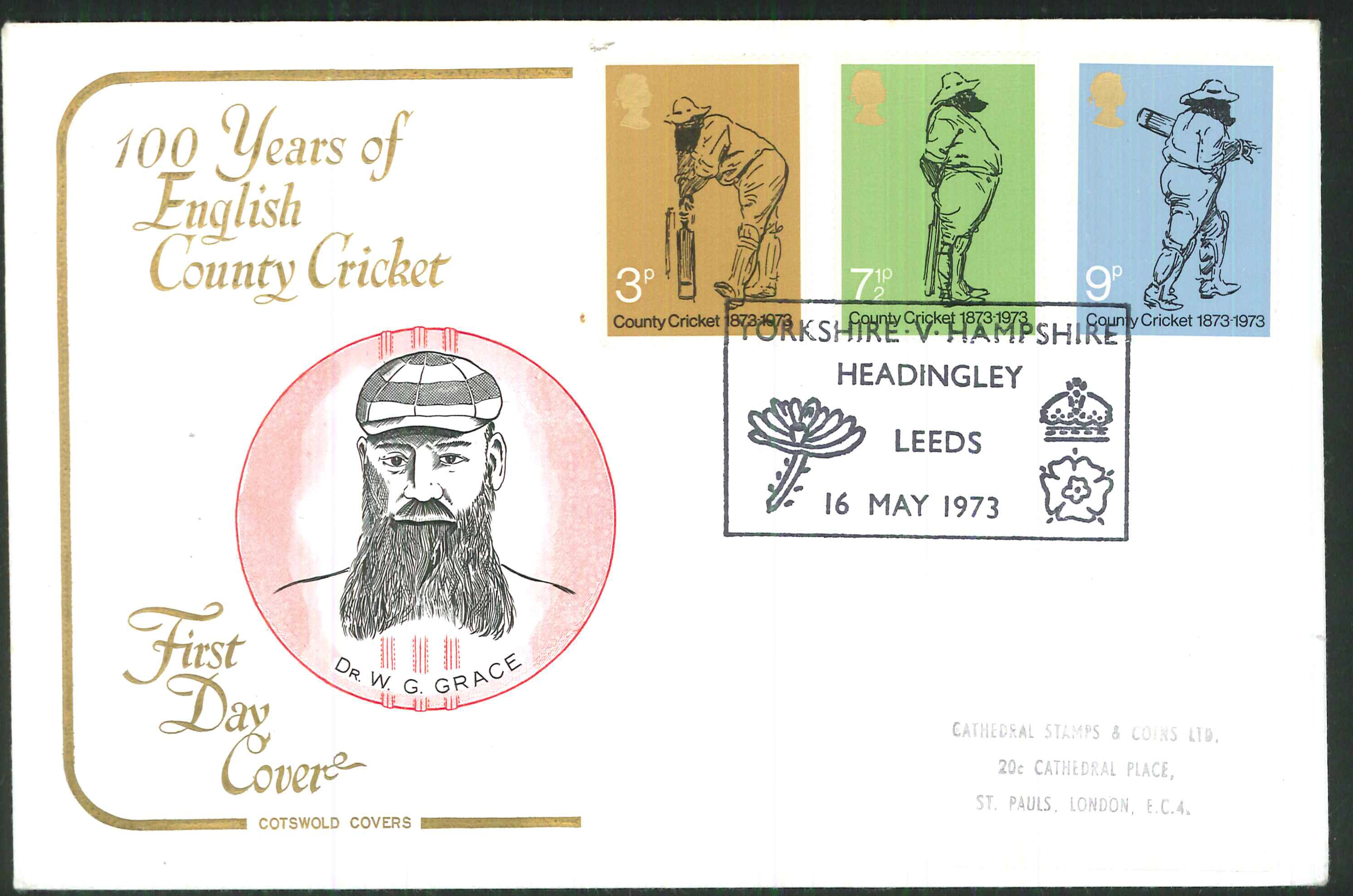 1973 Cotswold Cricket FDC Headingley,Leeds Handstamp