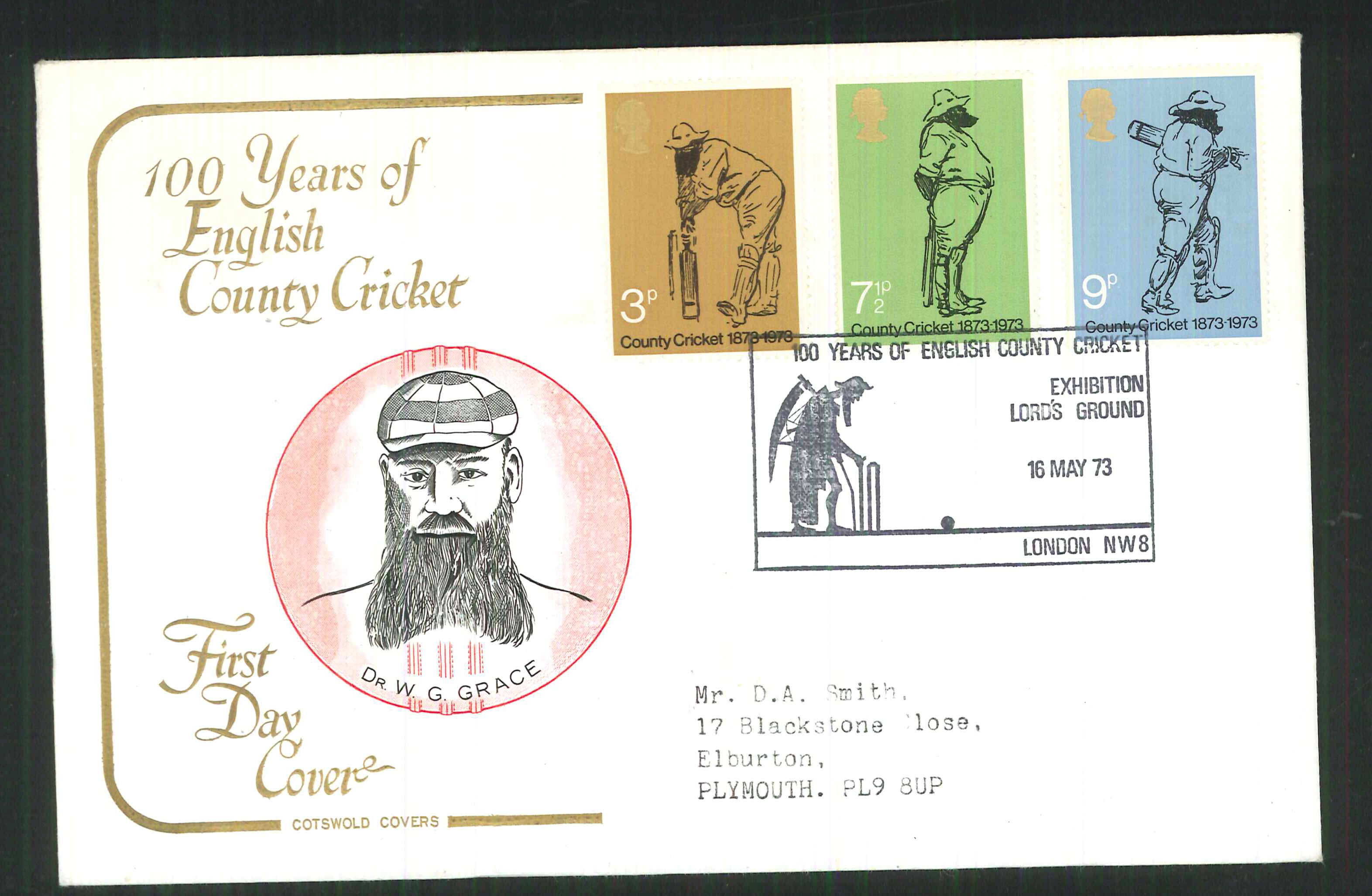 1973 Cotswold Cricket FDC Lord's Ground London Handstamp